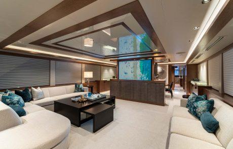 Westport W112   34m Raised Pilothouse   Main Salon TV