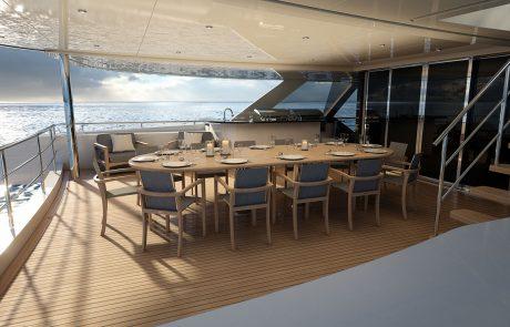 Westport W172   52m Tri-Deck - Aft Deck Dining