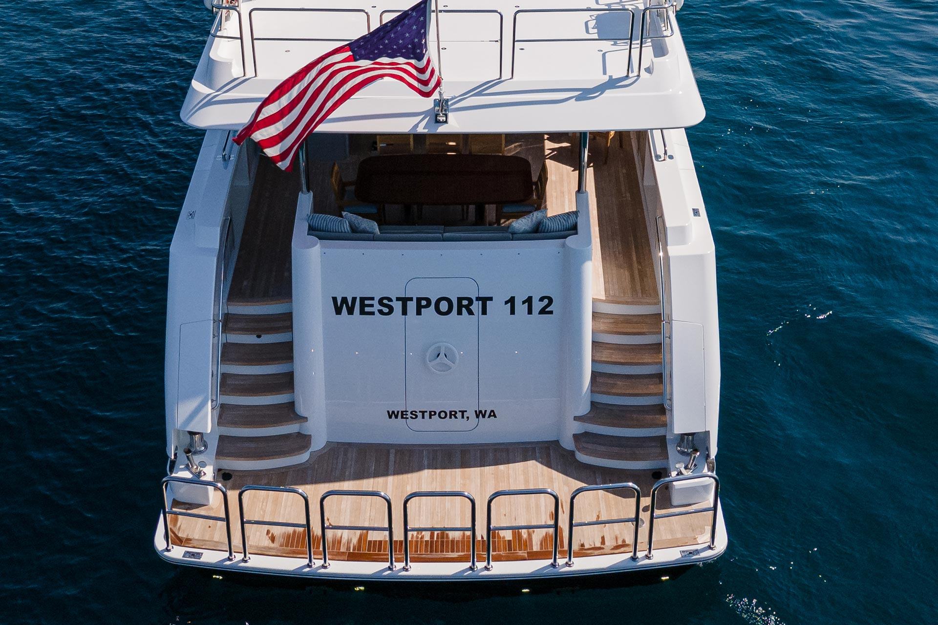 Westport W112 34m   Stern   Raised Pilothouse